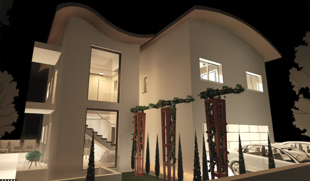 רינדור של חזית שנעשה ברוויט תוכנה לאדריכלים