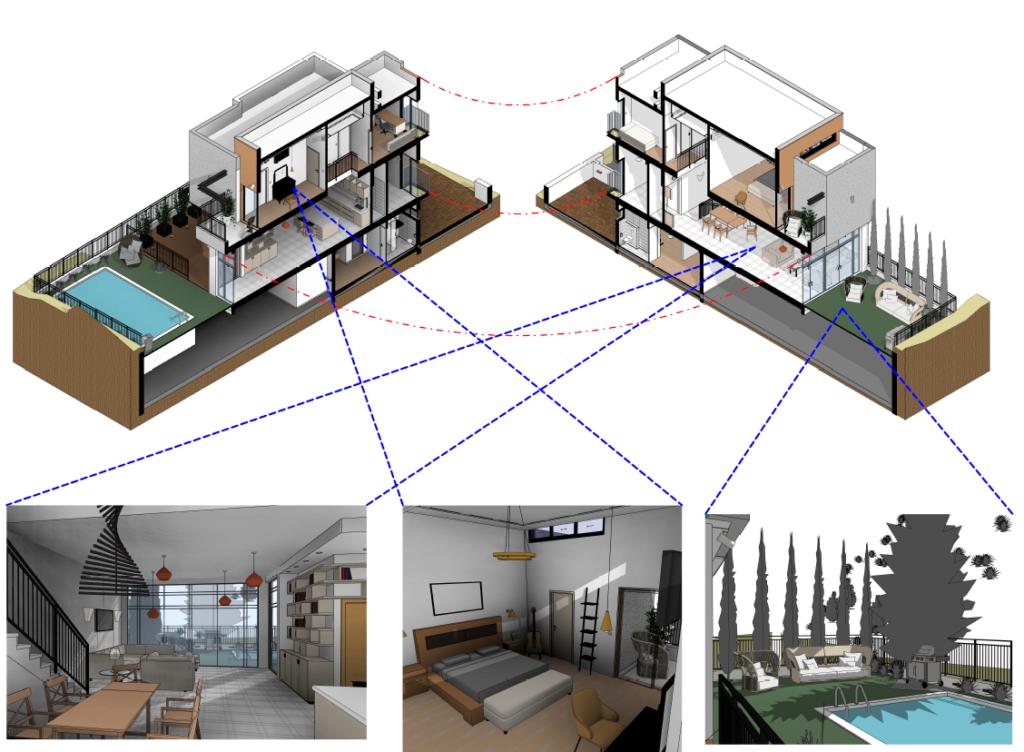 דוגמא לרינדורים ע''י תוכנה לאדריכלים רוויט של בורת הקורס