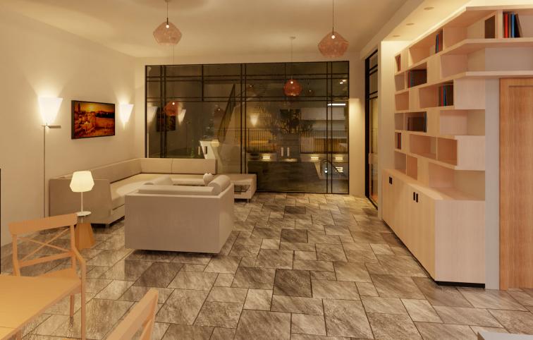 רינדור ריאליסטי של סלון בעזרת תוכנה לאדריכלים רוויט